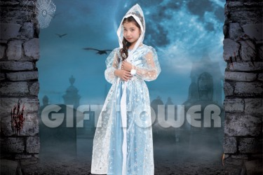 H-0081     30″Frosted Hooded Cape