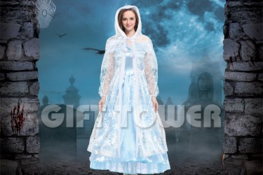 H-0082     50″Frosted Hooded Cape