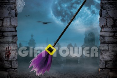 H-0079B    26″Witch's Broom – Solid Color