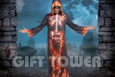 M-0131  Flame Skeleton Hooded Robe